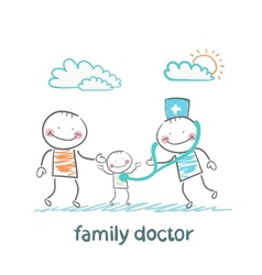 family doctor treats the father and his child vector image