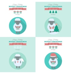 New Year cards with sheep in flat vector image