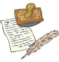 Vintage Handwritten Page with Quill Pen and vector image