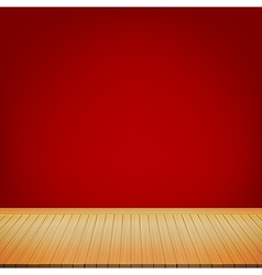 Brown wood floor with red background empty room vector image