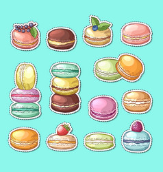 stickers set with colored hand drawn vector image vector image