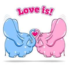 winged baby elephant in love on white vector image vector image