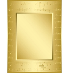 Bright gold frame with music notes vector