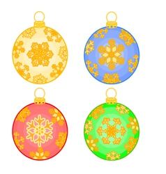Christmas baubles balls with snowflakes vector image