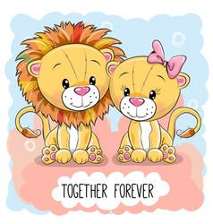 Cute cartoon lions boy and girl vector