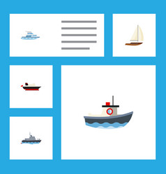 flat icon vessel set of ship boat transport and vector image vector image