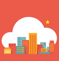 flat style modern city in the cloud vector image