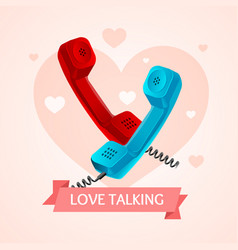love talk old phone concept vector image