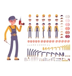 Male construction worker creation set vector image vector image