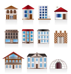 Various variants of houses and buildings vector