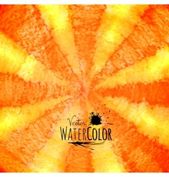 Watercolor striped radiant pattern yellow orange vector