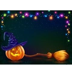 Halloween pumpkin and witchs broom on dark vector image vector image