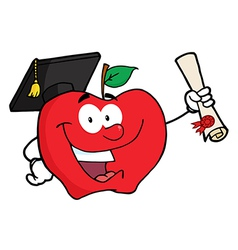 Happy Apple Holding A Diploma vector image