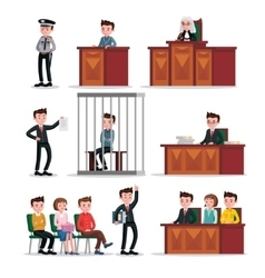 Judicial System Icons Set vector image