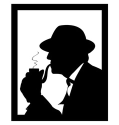 Man smoking a pipe vector