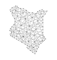 Map of kenya from polygonal black lines and dots vector