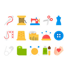 sewing equipment and needlework icons vector image