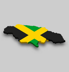 3d isometric map jamaica with national flag vector image