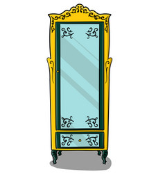a yellow cupboard with dark turquoise details and vector image