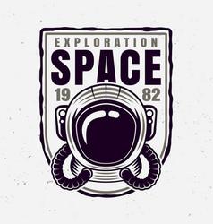 Astronaut helmet badge with sample text vector