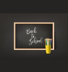 back to school 3d realistic black vector image