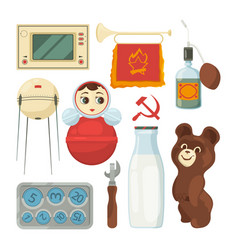 Back to ussr symbols and traditional historical vector