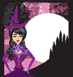 Beautiful witch at night vector