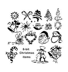 black 8-bit christmas items vector image