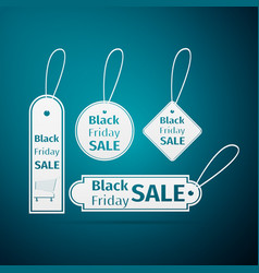 Black friday sales tag icon on blue background vector