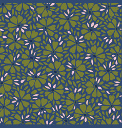 blue and green pattern with abstract flower vector image