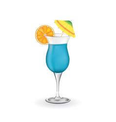 blue cocktail glass vector image
