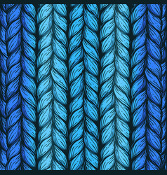 Blue hand drawn background of knitted threads vector