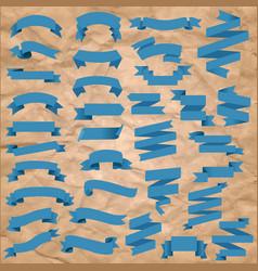 blue web ribbon big set cardboard background vector image
