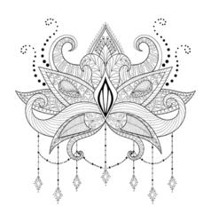 Boho doodle lotus flower blackwork tattoo design vector