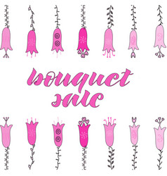 bouquets sale lettering light and dark pink vector image