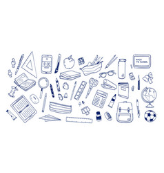 Bundle school supplies or stationery hand drawn vector