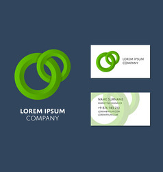 business card template with green circle logo vector image