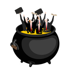 businessman in hellish cauldron boss is in hell vector image