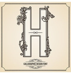 Calligraphic font Letter H vector image vector image