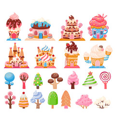 Candy land chocolate biscuit houses and caramel vector
