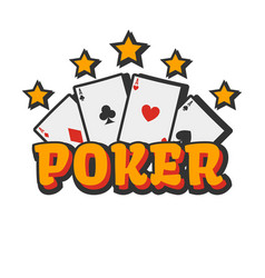 Casino poker cards and golden stars vector