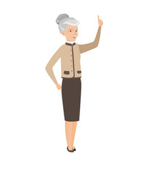 caucasian business woman pointing forefinger up vector image