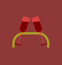 Champagne glasses and ribbon vector