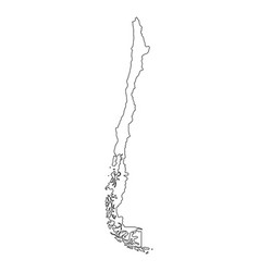chile - solid black outline border map of country vector image