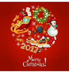 Christmas round poster for winter holidays design vector