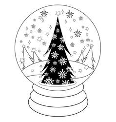 christmas tree inside a snow globe vector image