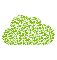 cloud collage of floral leaves icons vector image