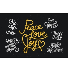 Collection of hand written Christmas phrases vector image