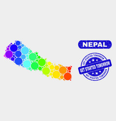 Colored mosaic nepal map and distress get started vector
