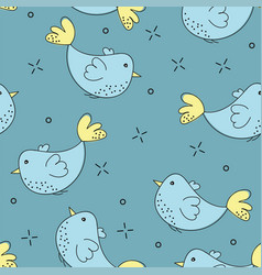 colorful doodle bird seamless pattern collection vector image